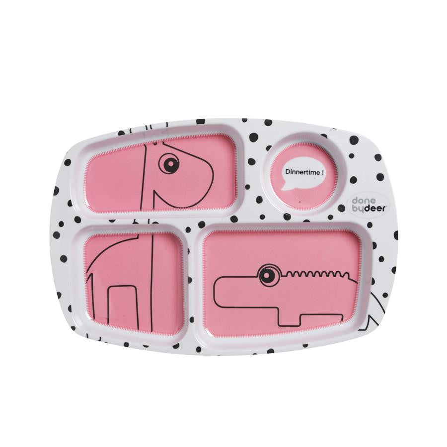 Done By Deer Happy Dots Compartment Plate Raspberry - Wiggles Piggles