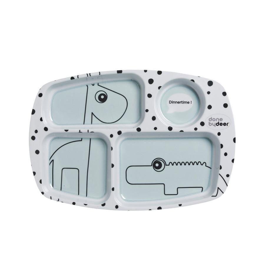 Done by Deer Happy Dots Compartment Plate Blue (PREORDER) - Wiggles Piggles