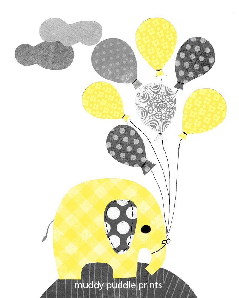 Yellow, Grey, Elephant, Birds - Wall Print Set - Wiggles Piggles  - 1