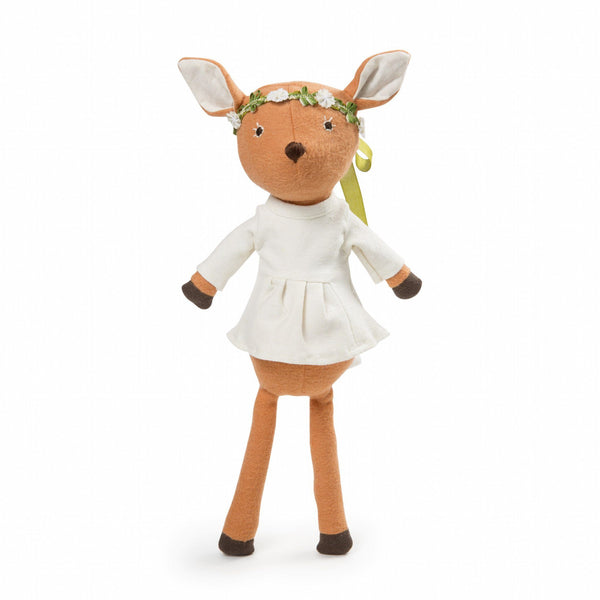 Hazel Village Phoebe Fawn in Tunic & Flower Crown (PREORDER) - Wiggles Piggles