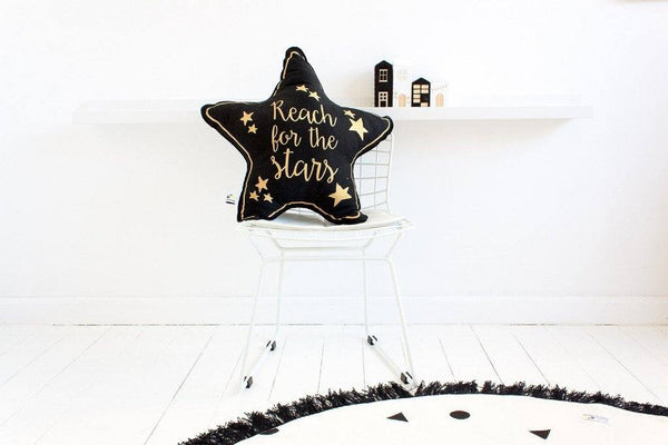Reach for the Stars Cushion - Gold Writing on Black - Wiggles Piggles  - 1