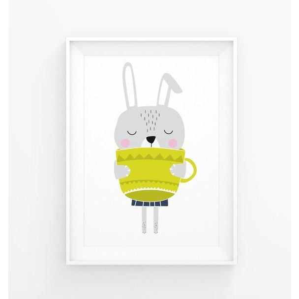 Bunny With Teacup Print - Wiggles Piggles