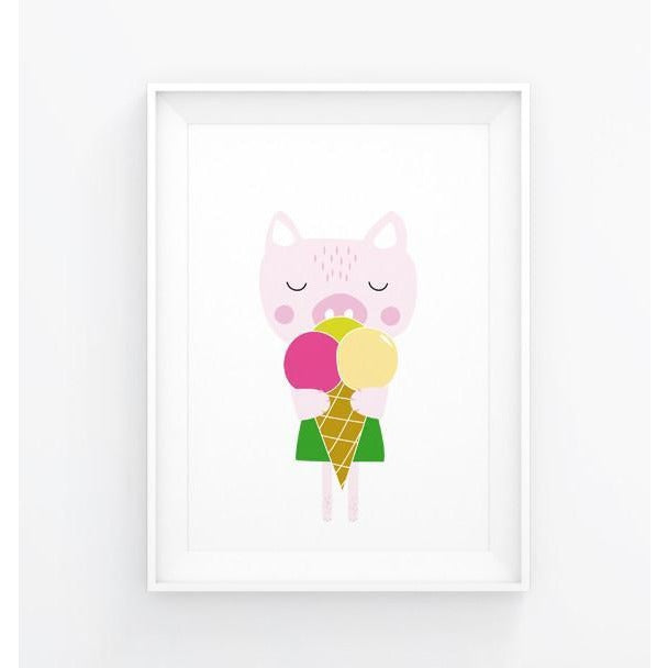 Pig with Ice Cream Print - Wiggles Piggles