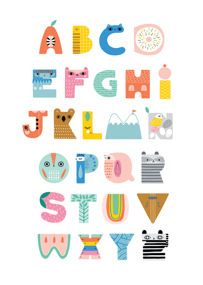 Petit Monkey ABC Shaped Character Print
