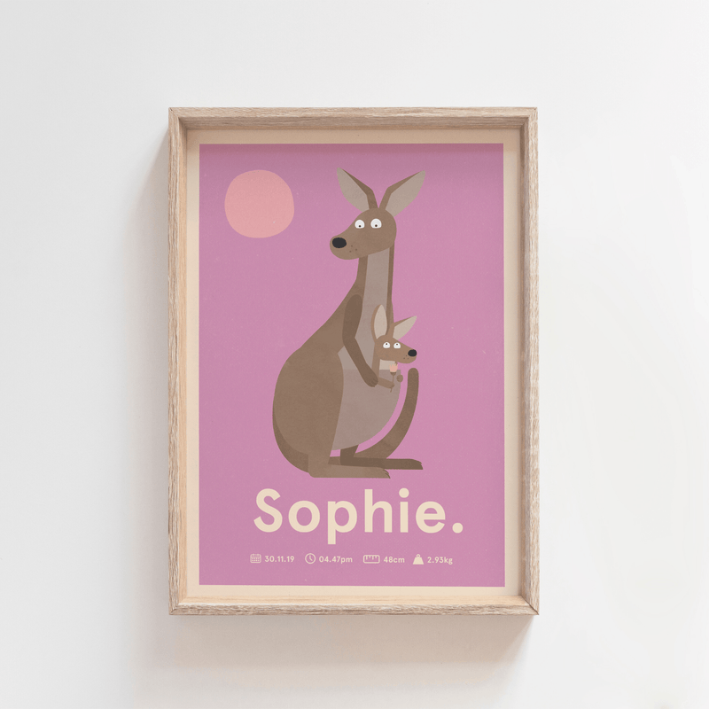 Outback Roo Birth Poster (Purple)