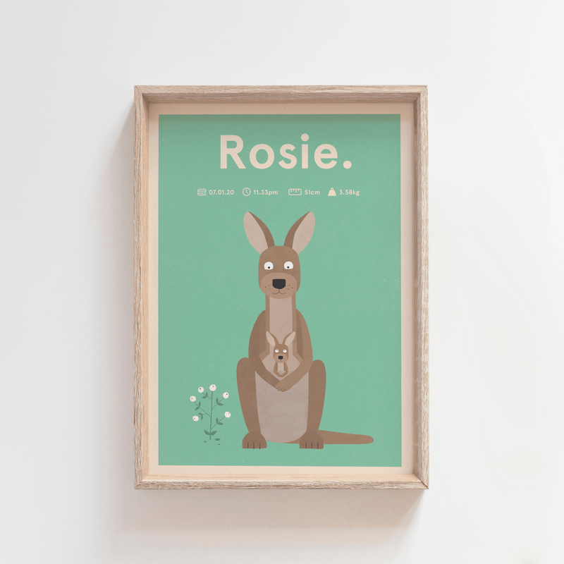 Regal Roo Birth Print (Green)