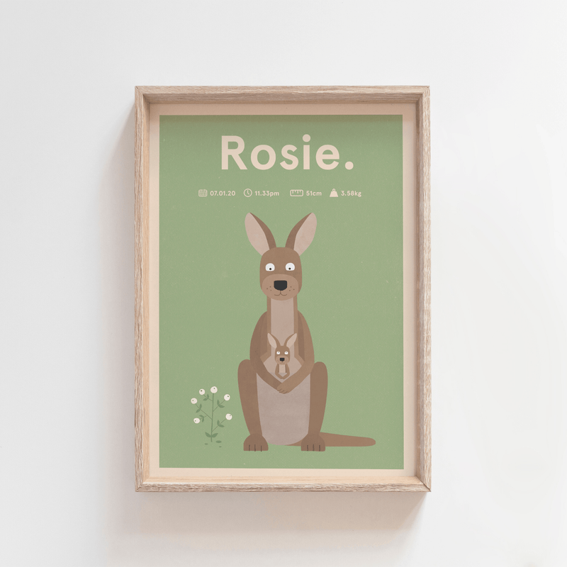 Regal Roo Birth Print (Olive)