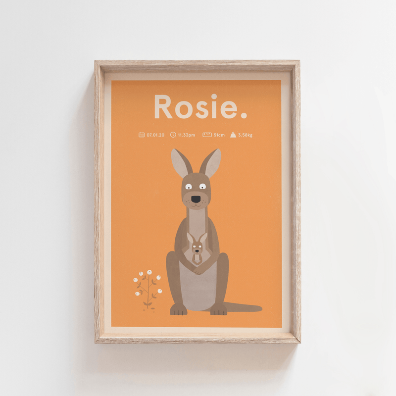 Regal Roo Birth Print (Orange)