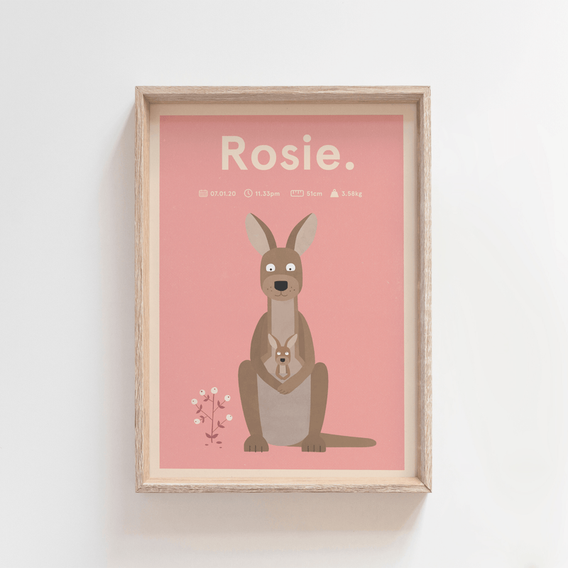 Regal Roo Birth Print (Pink)