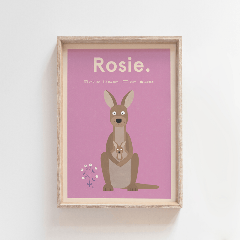 Regal Roo Birth Print (Purple)