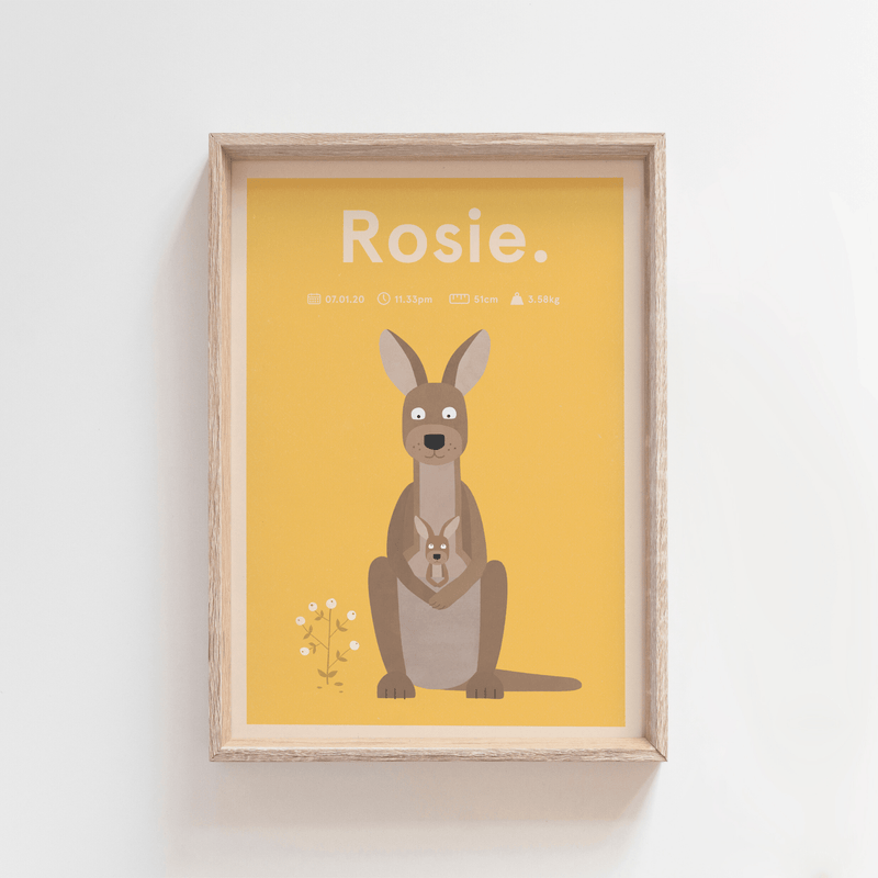 Regal Roo Birth Print (Yellow)