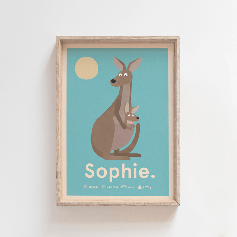 Outback Roo Birth Poster (Blue)