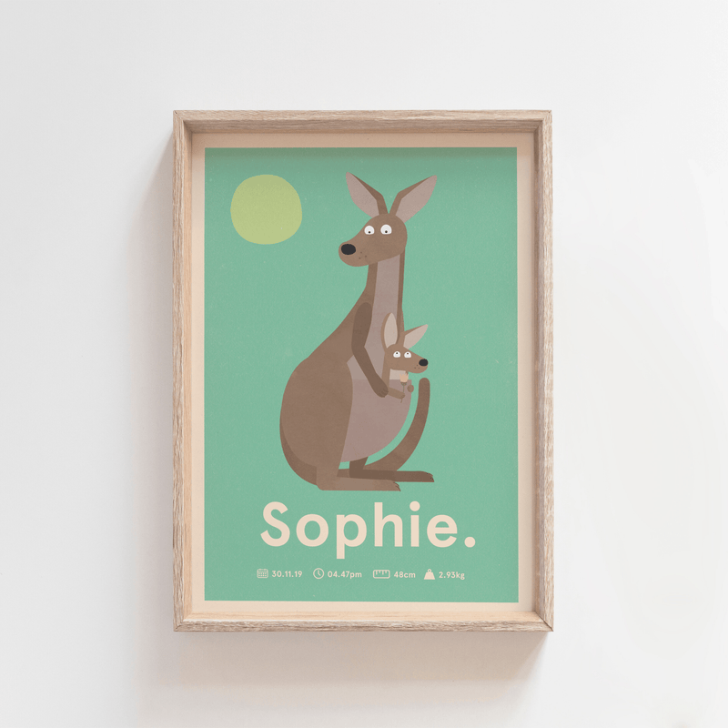 Outback Roo Birth Poster (Green)