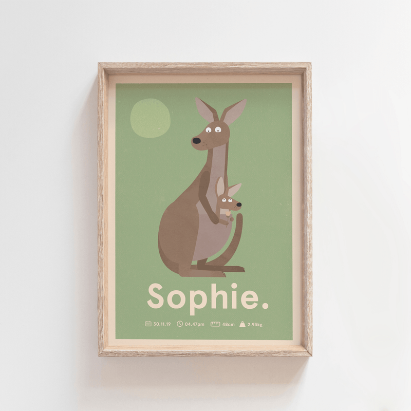 Outback Roo Birth Poster (Olive)