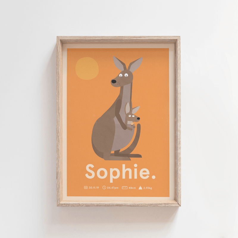 Outback Roo Birth Poster (Orange)