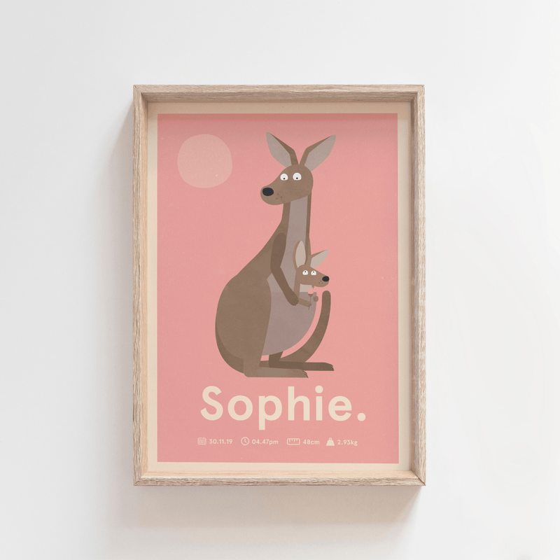 Outback Roo Birth Poster (Pink)