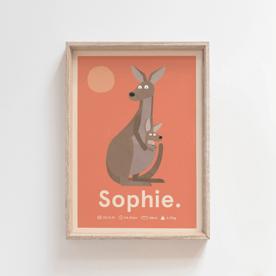 Outback Roo Birth Poster (Salmon)