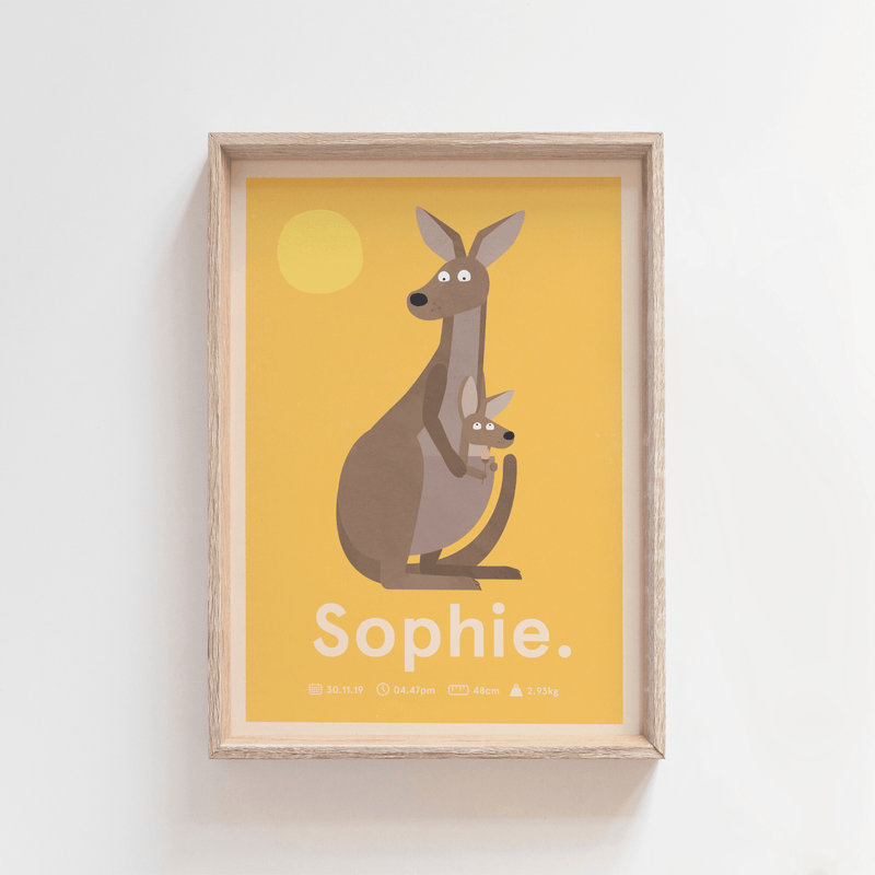 Outback Roo Birth Poster (Yellow)