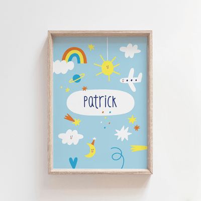 Up In the Sky Personalised Name Print