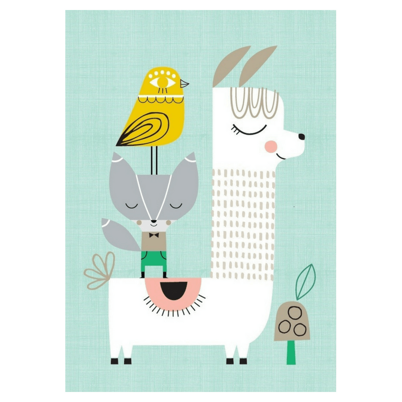 Petit Monkey Llama and Friends Print