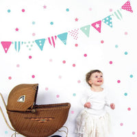 Bunting & Confetti Fabric Wall Decal - Girls - Wiggles Piggles  - 1