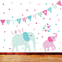 Bunting & Confetti Fabric Wall Decal - Girls - Wiggles Piggles  - 3