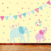 Bunting & Confetti Fabric Wall Decal - Girls - Wiggles Piggles  - 4