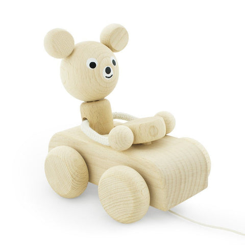 Wooden Pull Along Bear - Wiggles Piggles