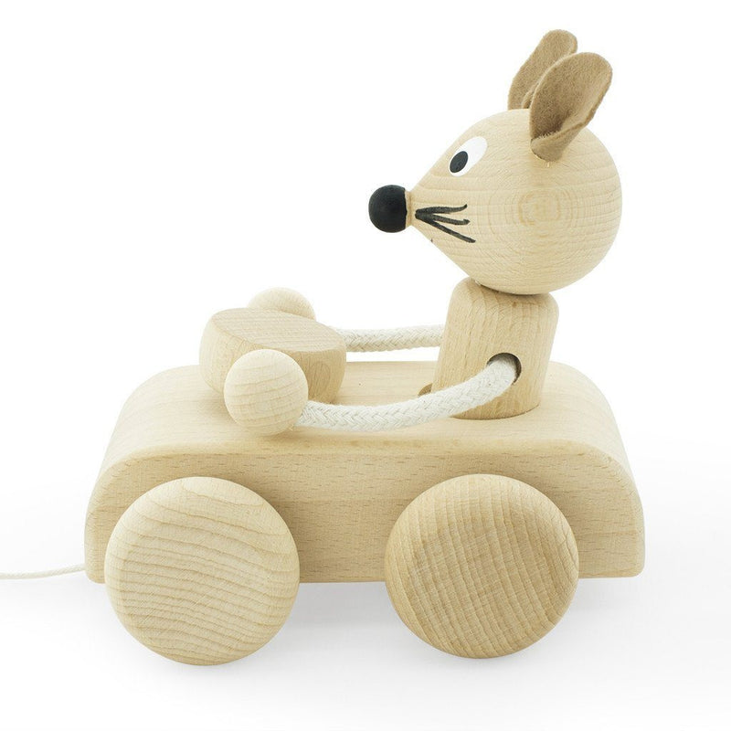 Wooden Pull Along Mouse - Wiggles Piggles  - 1