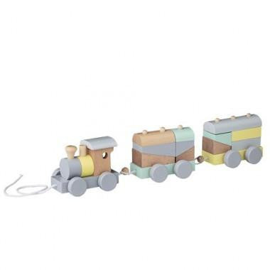 Bloomingville Mini Wooden Pull Along Train - Wiggles Piggles  - 1