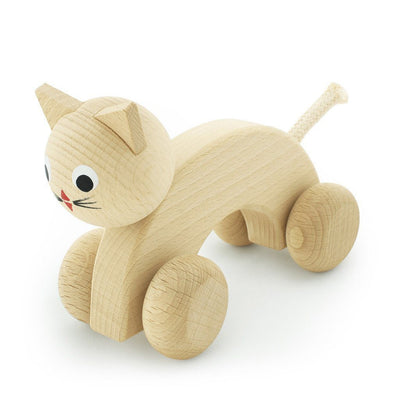 Wooden Push Along Kitty - Wiggles Piggles  - 1