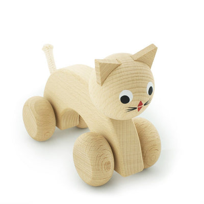 Wooden Push Along Kitty - Wiggles Piggles  - 3