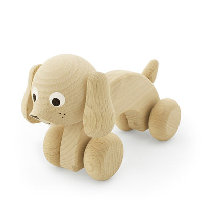 Wooden Push Along Dog - Wiggles Piggles  - 1