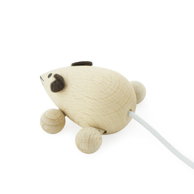 Wooden Push Along Mouse - Natural