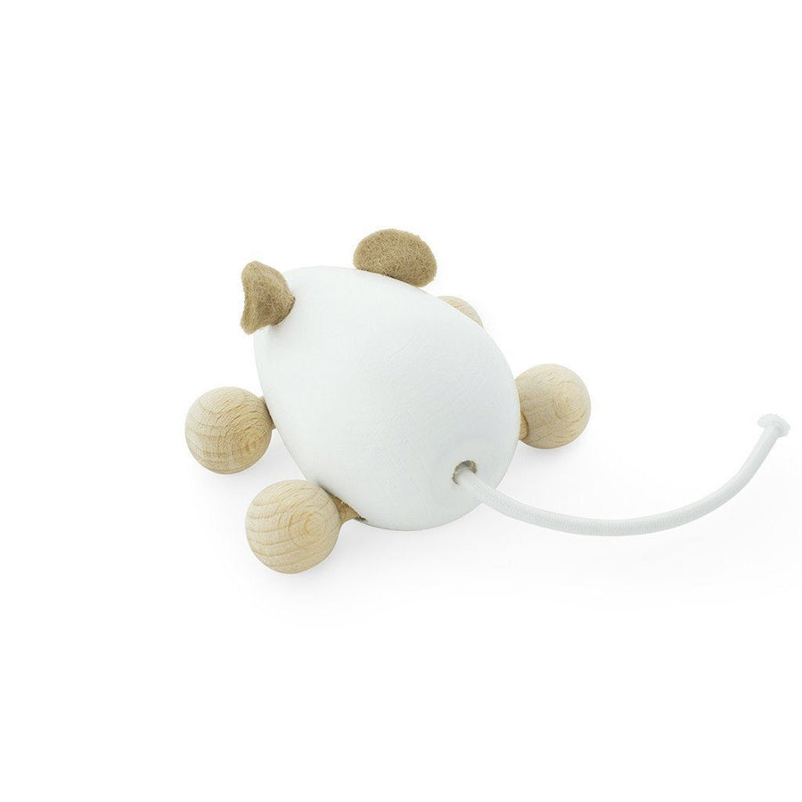 Wooden Push Along Mouse - White