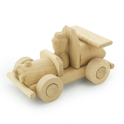 Wooden Race Car With Driver - Wiggles Piggles  - 1