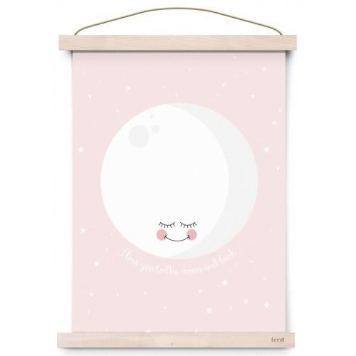 To The Moon & Back Poster Print - Pink - Wiggles Piggles
