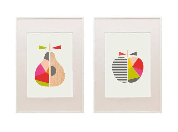 Apple & Pear Series of Two Prints - Red/Green - Wiggles Piggles  - 1