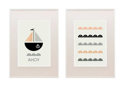 Nautical Nursery Set of Two Prints - Wiggles Piggles  - 2