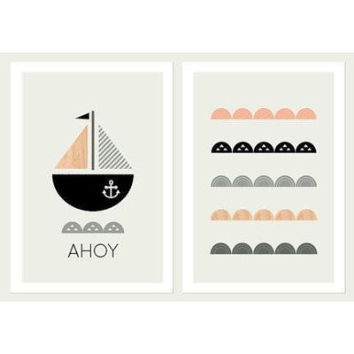 Nautical Nursery Set of Two Prints - Wiggles Piggles  - 1