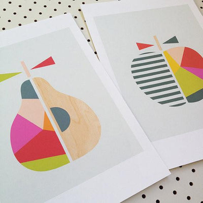 Apple & Pear Series of Two Prints - Red/Green - Wiggles Piggles  - 3