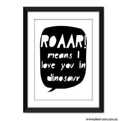 ROAAR Means I love you in Dinosaur Print - Wiggles Piggles  - 1