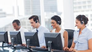 Sales persons in a call centre