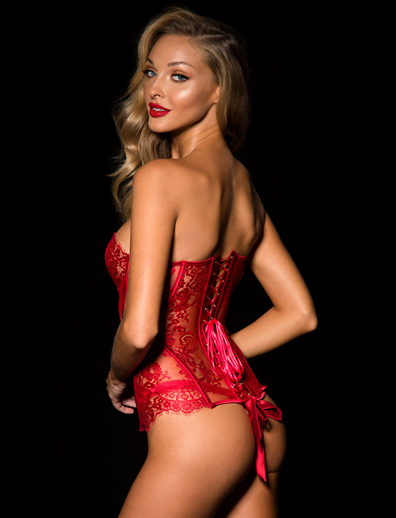 Chloe Red Lace Corset