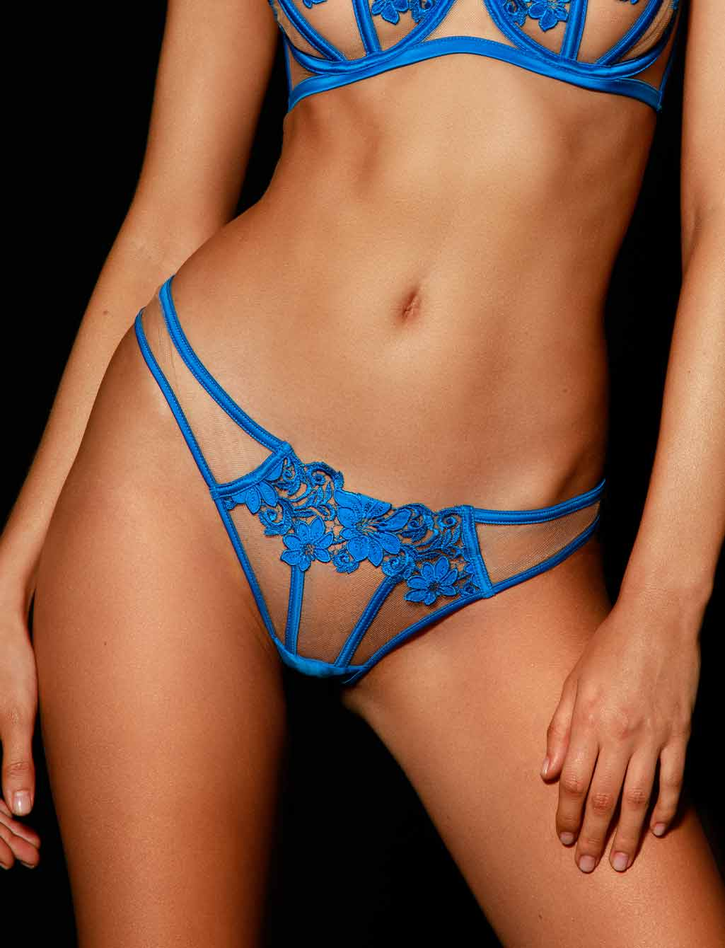 Amelie Blue Brief - Shop Panties | Honey Birdette