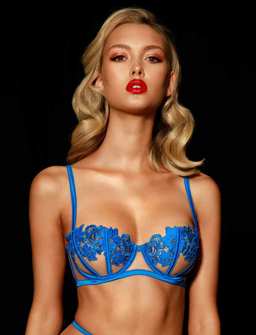 Amelie Blue Lingerie Set - Shop Lingerie | Honey Birdette
