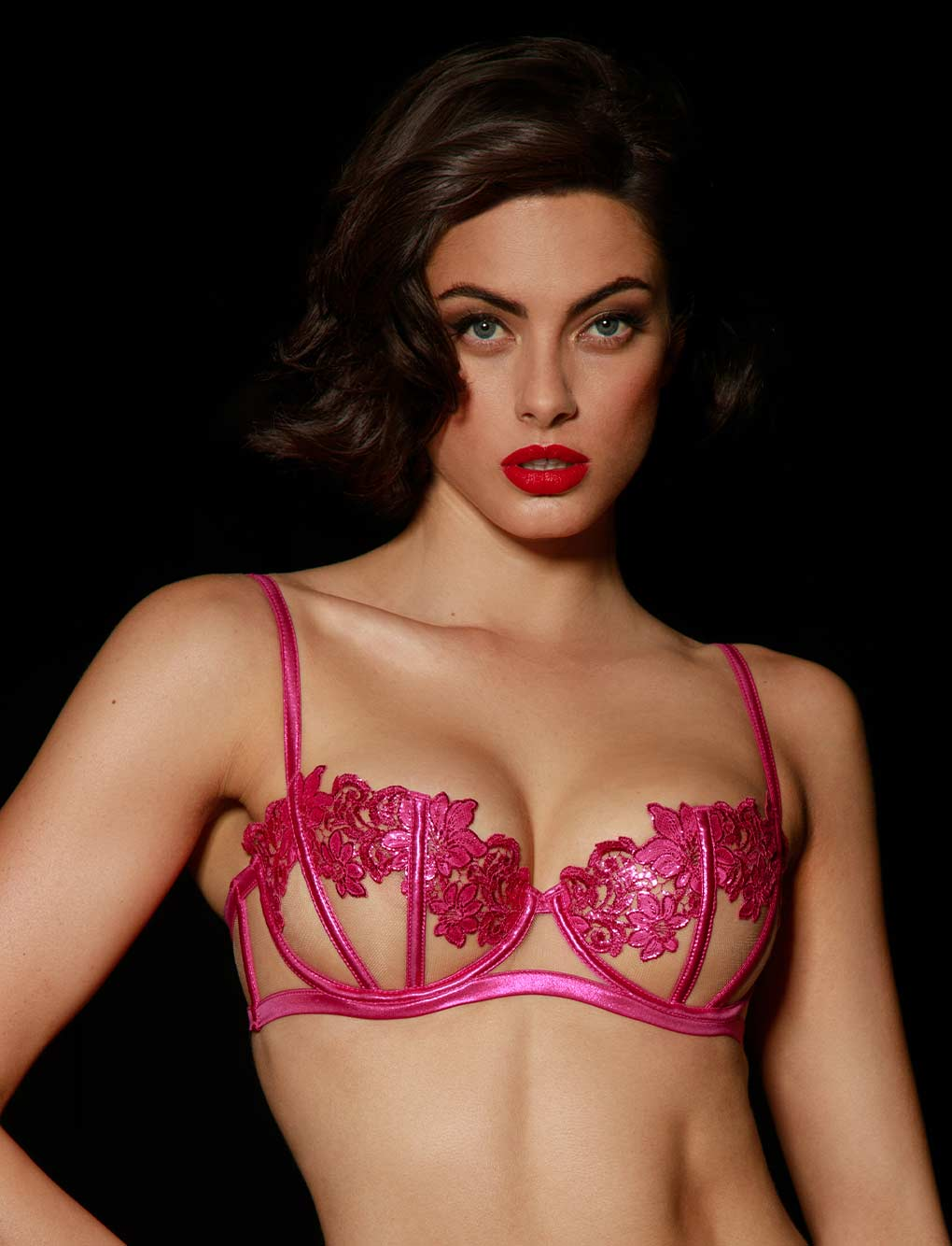 Amelie Pink Underwire Bra - Shop Bras | Honey Birdette