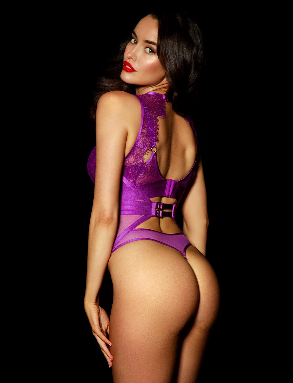 Belinda Purple Lace Bodysuit | Shop Corsets | Honey Birdette