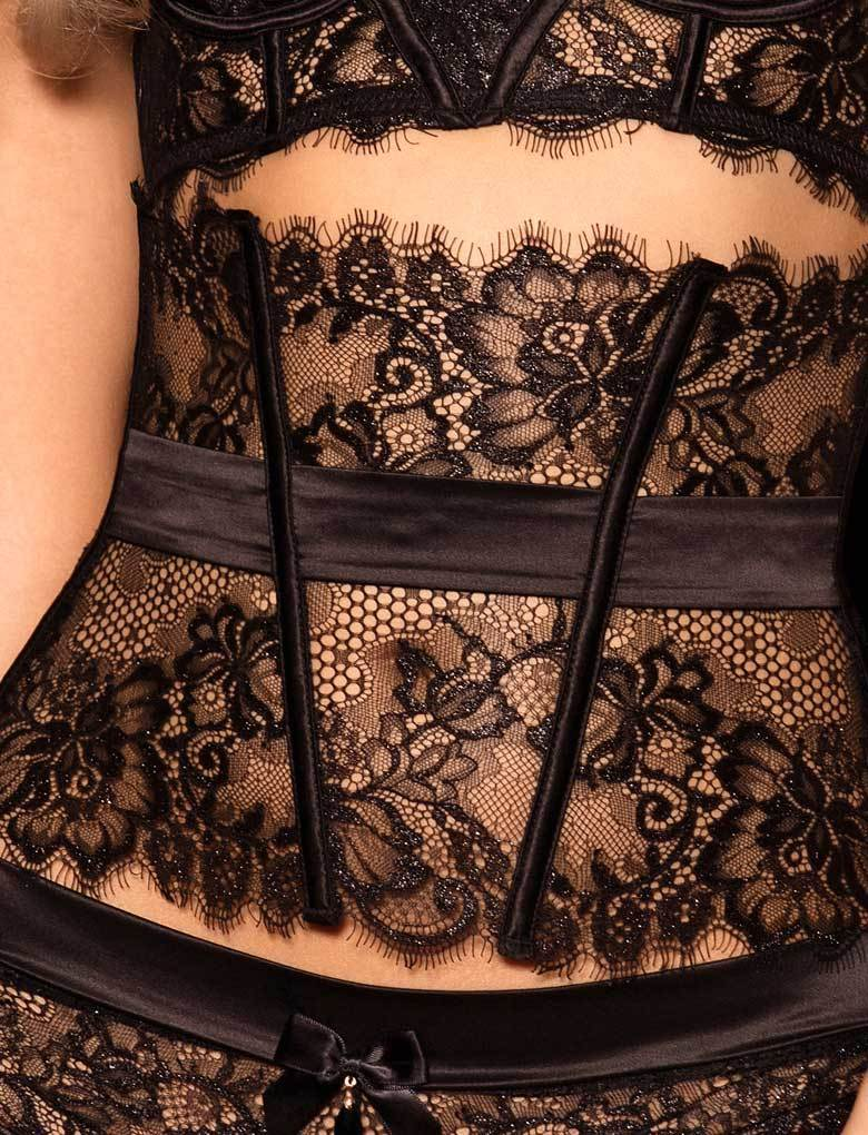 Chloe Black Lace Suspender - Shop Lingerie | Honey Birdette
