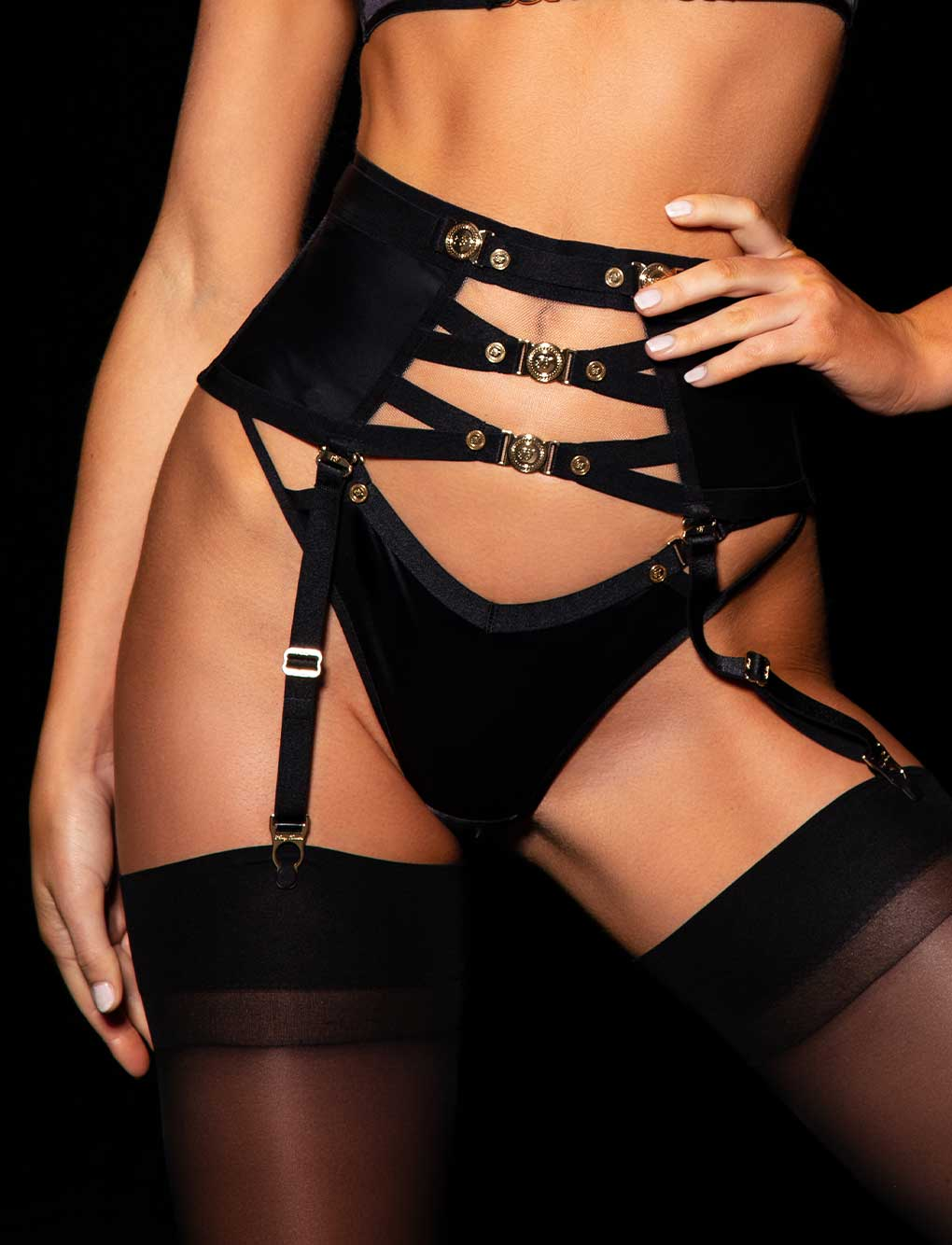 Cole Black Waspie | Shop Corsets & Suspenders | Honey Birdette